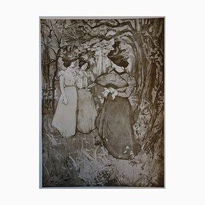 Menuet d'automne Lithograph by Manuel Robbe, 1897
