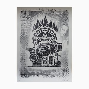 Damaged Printing Press Screenprint by Shepard Fairey