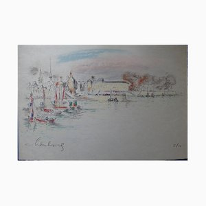 Honfleur: The White Horse Lithograph and Pastel by André Hambourg