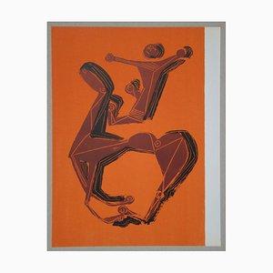 Horse and Rider on Orange Background Lithograph by Marino Marini, 1955