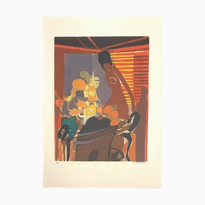 Indoor Scene Lithograph by Alfed Defossez, 1972