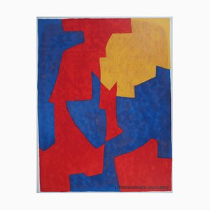 Blue and Red Poster by Serge Poliakoff, 1973