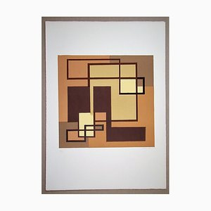 Compositione Astratta Marrone Lithograph by Mario Radice, 1974