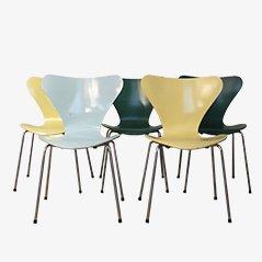 Chaises, Séries 7, Colorées par Arne Jacobsen pour Fritz Hansen, 1980, Set de 5