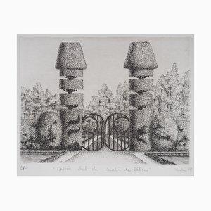 Incisione Entrée Sud del Jardin des Délices di François Houtin