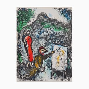 Couple and Artist in Front of Saint Jeannet Lithograph by Marc Chagall, 1972