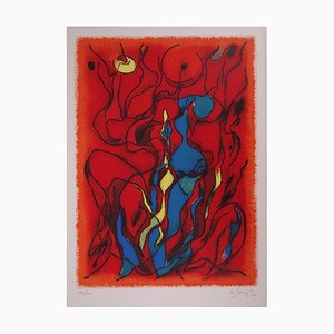 Couple Flamboyant Lithograph by Gustave Singier