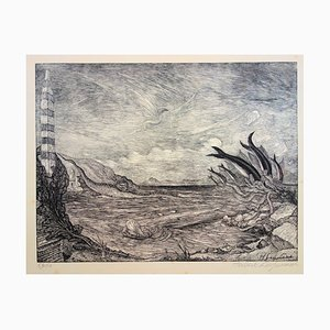 Mythical Aquatic Landscape Engraving by Herbert Lespinasse
