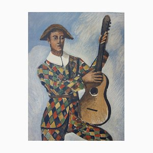 André DERAIN - Harlequin on guitar, signed lithograph