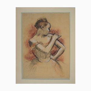 Edgar DEGAS (d'après) : Danseuse ajustant son corset - Lithographie signée