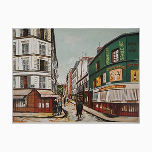 Seveste Street in Montmartre Lithograph Reprint by Maurice Utrillo, 1923