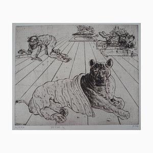 Mordecaï MOREH : Jaguar noir - Gravure originale signée