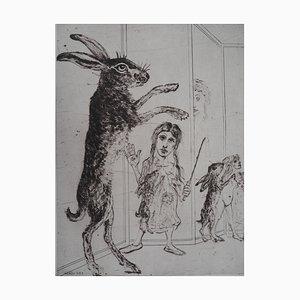 Grabado de entrenamiento Circus Hare de Mordecai Moreh, 1937