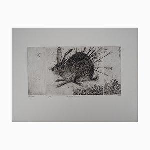 The Hare Hunt Radierung von Mordecai Moreh, 1937