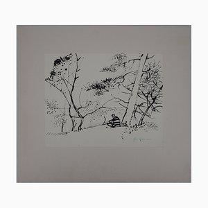 Maurice Genis Dominant la forêt de Fontainebleau Dessin par René Genis