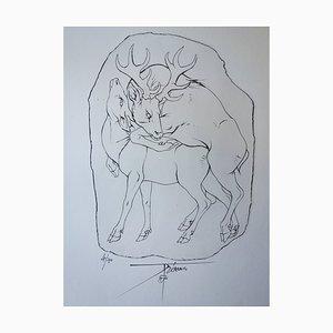 Accouplement d'un Cerf et d'une Biche Gravure by Pierre-Yves Tremois