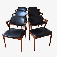 Mid Century Teak Model 42 Dining Chairs by Kai Kristiansen, Set of 6