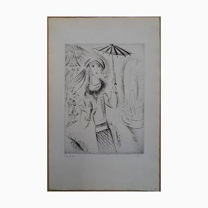 Jeune-Fille à l'Ombrelle Gravüre von Mily Possoz