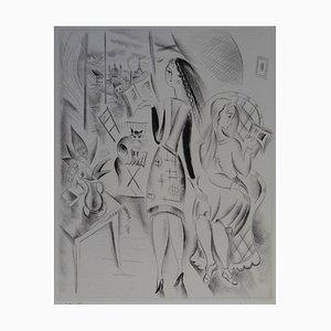 La Leçon à la Fenêtre Gravure by Mily Possoz