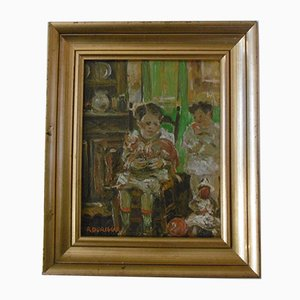 Roland Durieux - Children and the cat, signed oil on cardboard