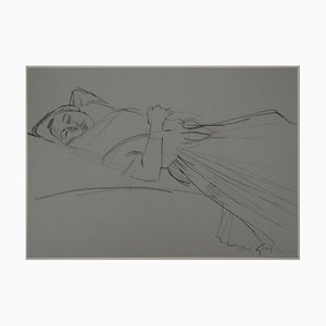 Young Woman Resting Drawing by René Genis