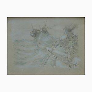 Bataille Navale Drawing by Léon Biteau, 1915