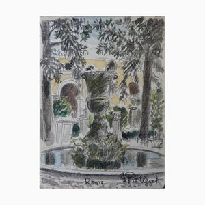 Fontaine à Rome Watercolor by Gilbert Poillerat