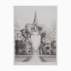 Entrée Ouest du Jardin des Délices Gravure by François Houtin