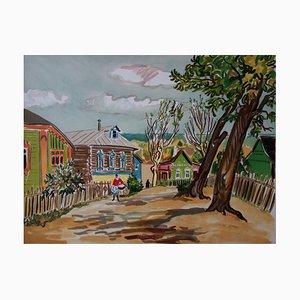 Yves BRAYER : RUSSIE : Village russe - Lithographie originale signée