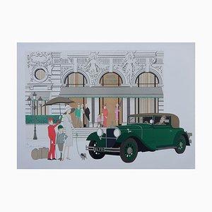 Mercedes and Hôtel de Paris Lithograph by Denis-Paul Noyer