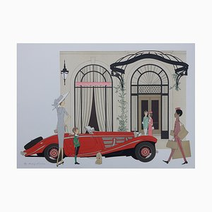 Mercedes Roadster 540K & Plaza Athenée Lithograph by Denis-Paul Noyer