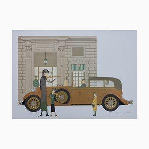 Mercedes Nurburg - Hotel de Crillon Lithographie von Denis-Paul Noyer