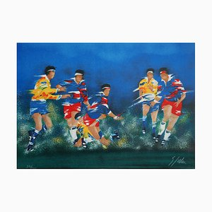Rugby Lithograph by Victor Spahn