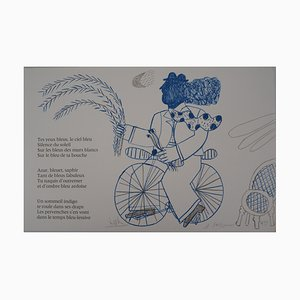 The Blue Cyclist Lithograph by Alekos Fassianos