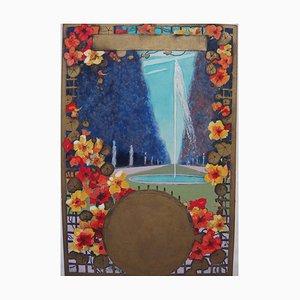 Vue de Printemps à la Fontaine Gouache de Robert Pichon