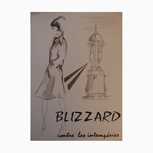 Blizzard against the Elements Watercolor Advertisement by Jean-Luc Gaillet, 1960s
