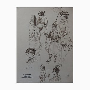 Women and Soldiers Ink Drawing by Henriot