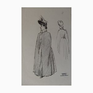 Femme Sortant du Bal Ink Drawing by Henriot