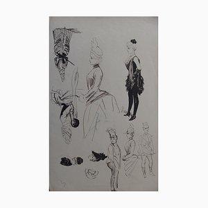 Hommage à la Fiancée Vendue de Smetana Ink Drawing by Henriot