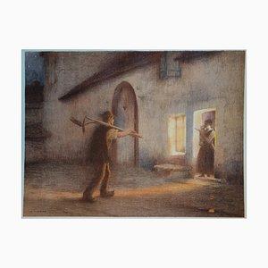 Le Retour des Champs Lithograph by J.A. Muenier