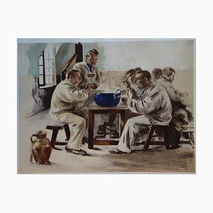 La Soupe à la Chambrée Lithograph by Jacques Baseilhac, 1897