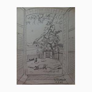Vue sur la Peitte Cour Drawing by Gilbert Poillerat