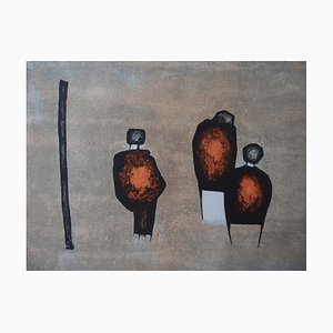 Three Characters Lithograph on Stone by WITOLD-K
