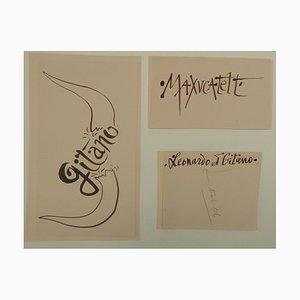Trois études de Calligraphie Drawing by Pierre-Yves Tremois, 1959