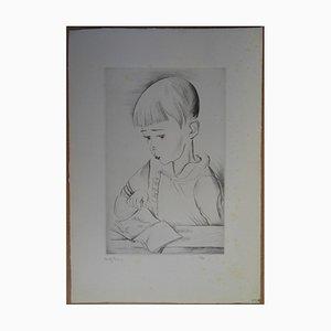 Mily POSSOZ - Le garçonnet, Gravure originale signée