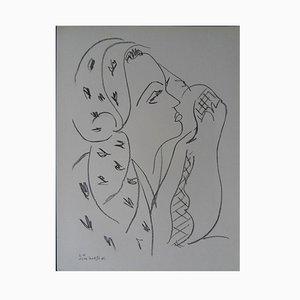 Woman with Scarf Lithografie Reprint von Henri Matisse