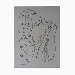 Woman with Scarf Lithograph Reprint by Henri Matisse