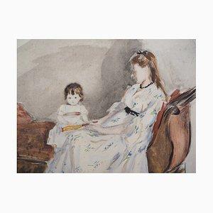 Mère et Fille Lithograph Reprint by Berthe Morisot, 1946