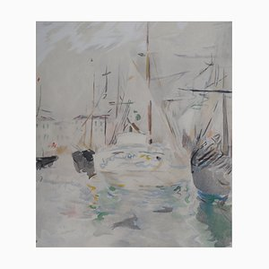 Sailboats in Saint Tropez Lithograph Reprint by Berthe Morisot, 1946
