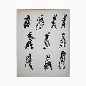 Ten Figures Lithograph by Henri Michaux, 1952